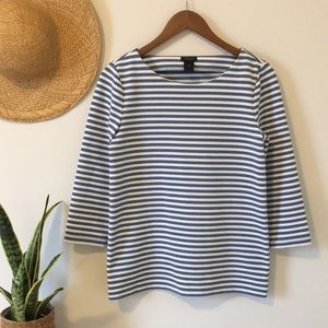 Ann Taylor Blue and White 3/4 Sleeve Top Sz Small